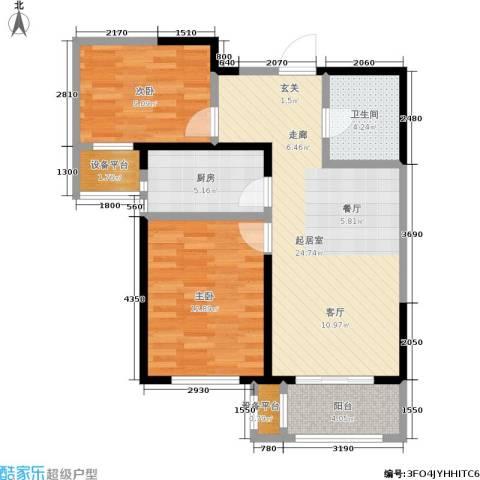 双发金玺城2室0厅1卫1厨87.00㎡户型图