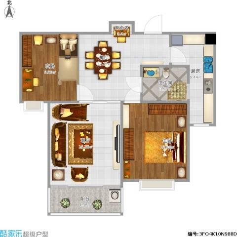 西城名邸2室2厅1卫1厨129.00㎡户型图