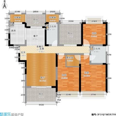 绿地华尔道名邸3室1厅2卫1厨140.00㎡户型图