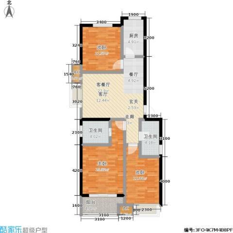 御龙湾3室1厅2卫1厨100.00㎡户型图