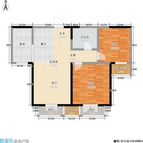 双发金玺城2室0厅1卫1厨88.00㎡户型图