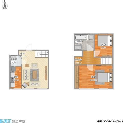 如一坊中央公园2室1厅2卫1厨74.00㎡户型图