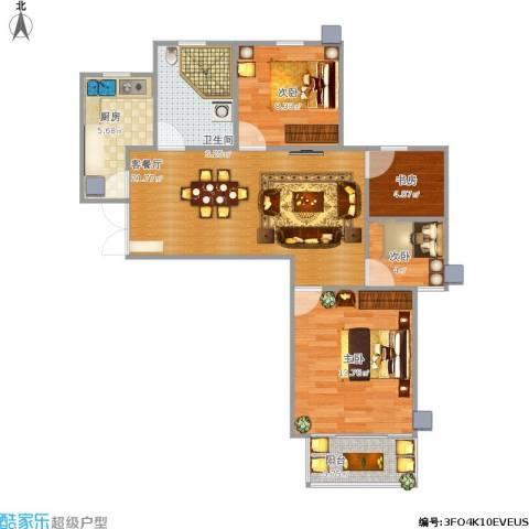 滨河花园4室1厅1卫1厨73.33㎡户型图