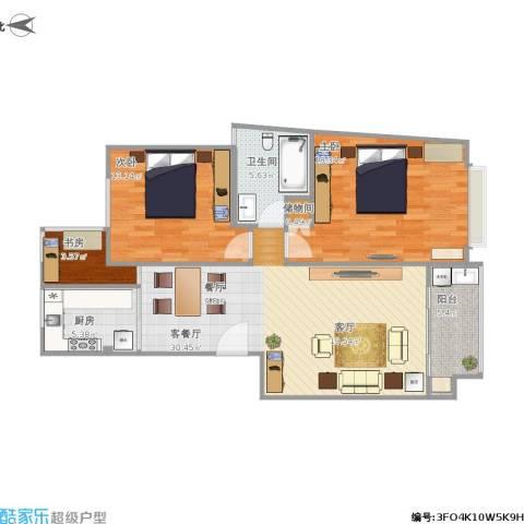 中星长岛苑3室1厅1卫1厨111.00㎡户型图