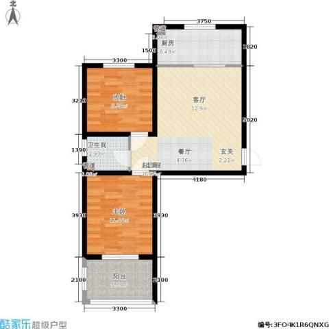 驼梁云中院2室0厅1卫1厨81.00㎡户型图