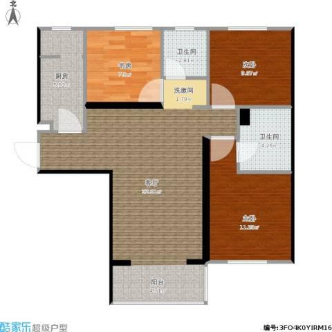 华夏奥韵3室1厅2卫1厨128.00㎡户型图