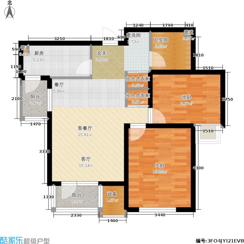 天房彩郡二期90.03㎡新尚园15号楼标准层G户型