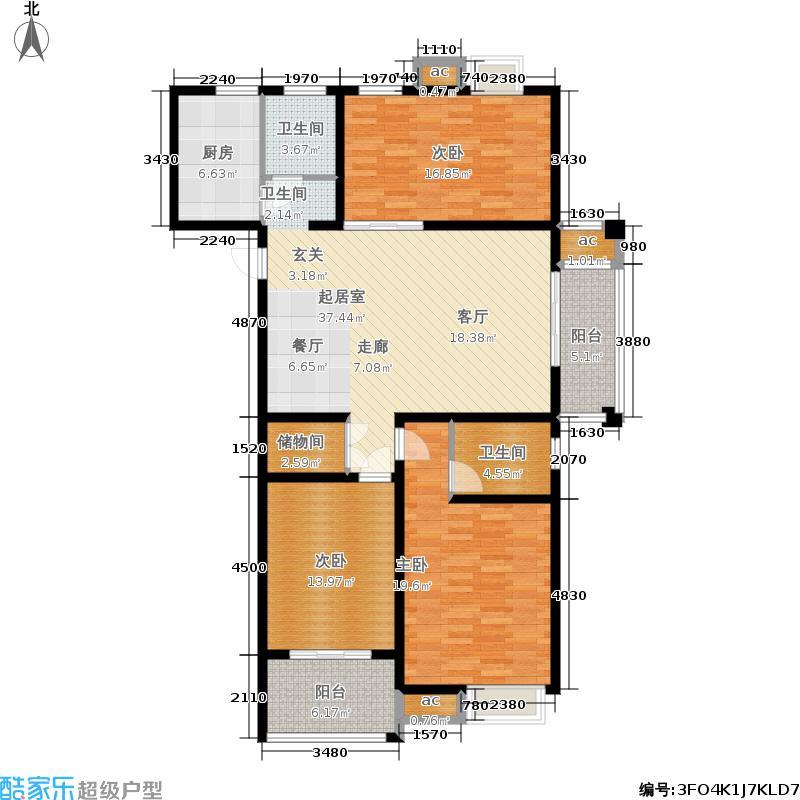 弘阳旭日上城138.00㎡D2户型3室2厅