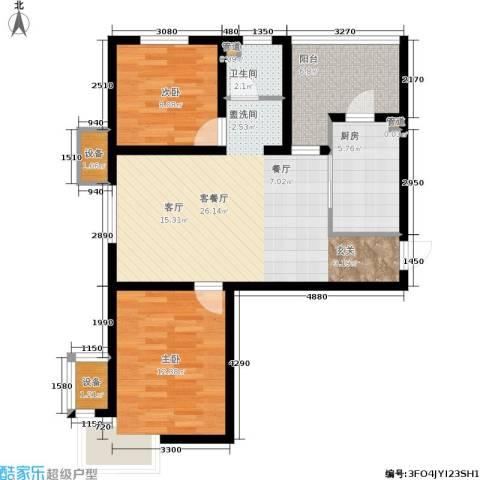 天房彩郡二期2室1厅1卫1厨88.00㎡户型图