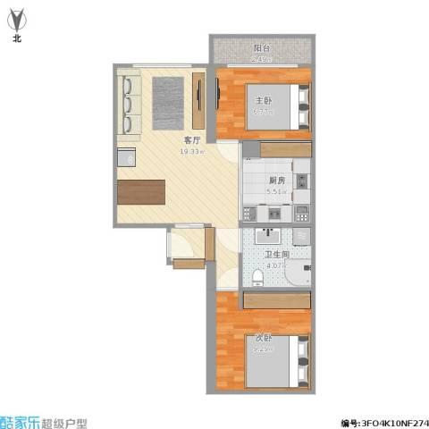 城关北里2室1厅1卫1厨80.00㎡户型图