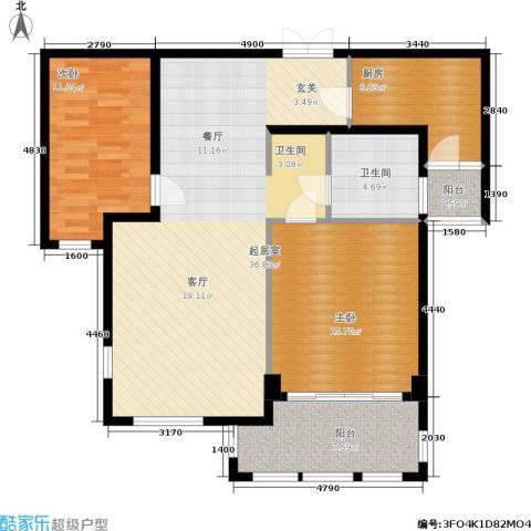 三川御锦台2室0厅1卫1厨98.00㎡户型图