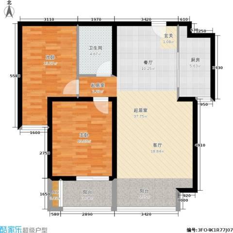 北城山水2室0厅1卫1厨111.00㎡户型图