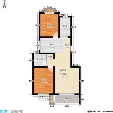 御湖国际2室0厅1卫1厨104.00㎡户型图