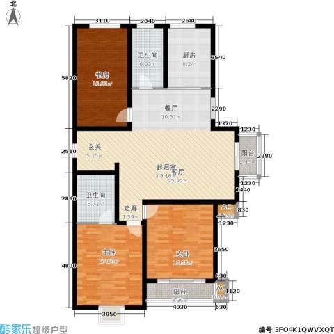 御湖国际3室0厅2卫1厨168.00㎡户型图