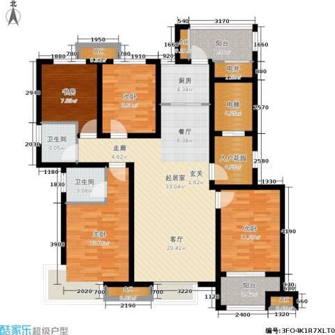 星湖湾4室0厅2卫1厨154.00㎡户型图