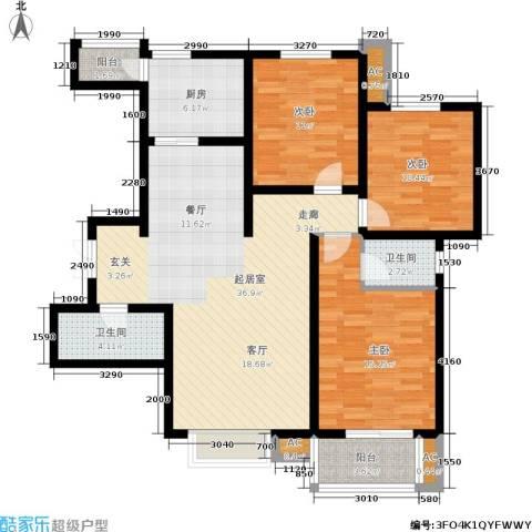 北郡帕提欧3室0厅2卫1厨136.00㎡户型图