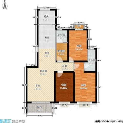御湖国际3室0厅2卫1厨145.00㎡户型图