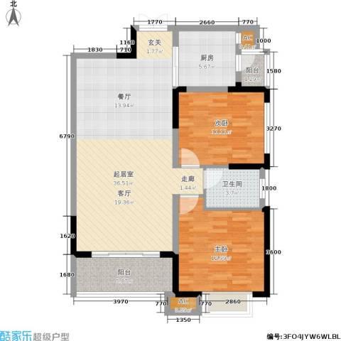 恒基水漾花城2室0厅1卫1厨90.00㎡户型图