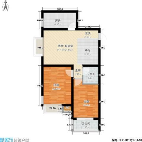 北郡帕提欧2室0厅2卫1厨89.00㎡户型图