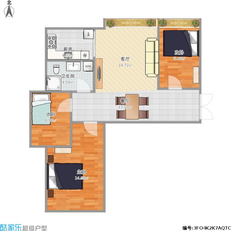 93.35方K5三室两厅