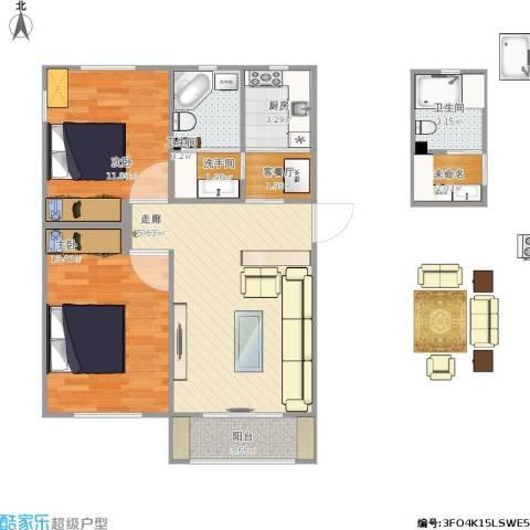 朝阳北部湾2室2厅2卫1厨87.00㎡户型图