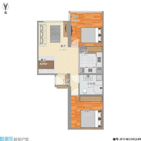 城关北里2室1厅1卫1厨66.00㎡户型图