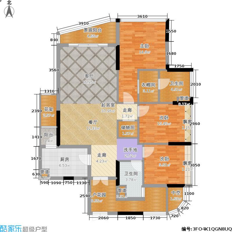 珠江鹅潭湾146.00㎡10栋03单元户型3室2厅