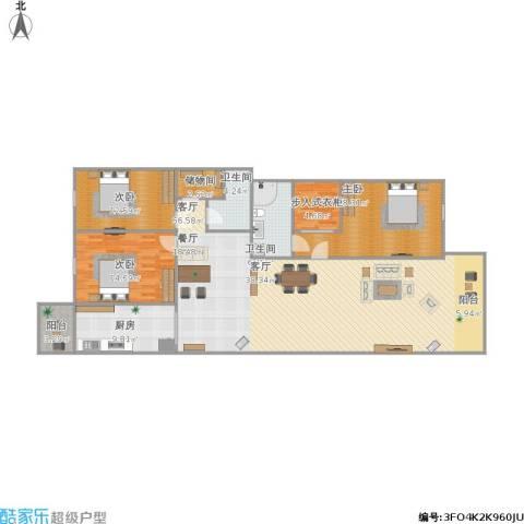 东升园3室1厅2卫1厨190.00㎡户型图