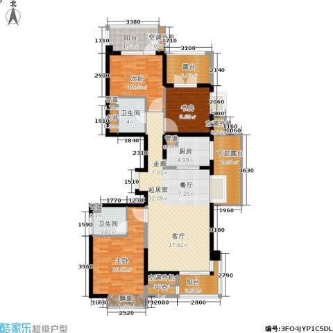 河东万达广场3室0厅2卫1厨136.00㎡户型图