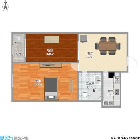 东方新天地2室1厅1卫1厨64.00㎡户型图