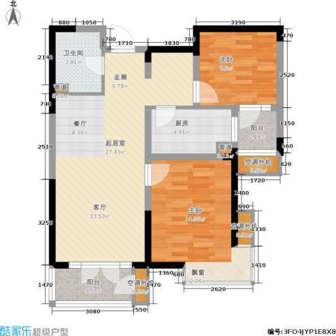 河东万达广场2室0厅1卫1厨94.00㎡户型图