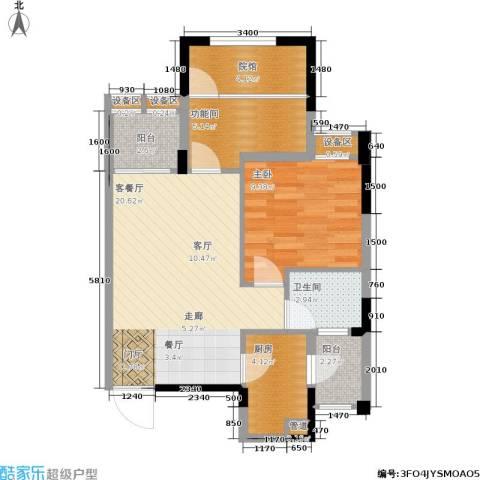 千山米兰郡1室1厅1卫1厨68.00㎡户型图
