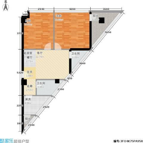 鼎晟金科凯城2室0厅2卫1厨93.00㎡户型图