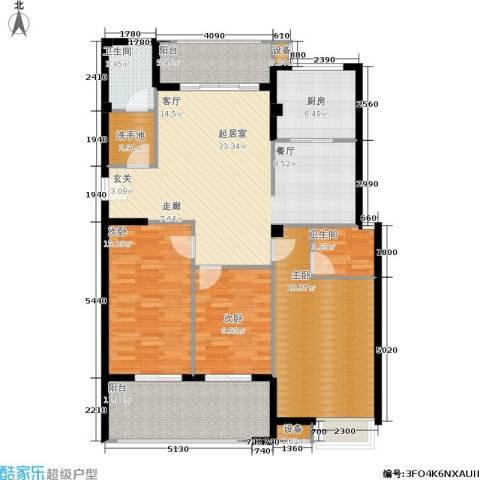京华观邸3室0厅2卫1厨124.00㎡户型图