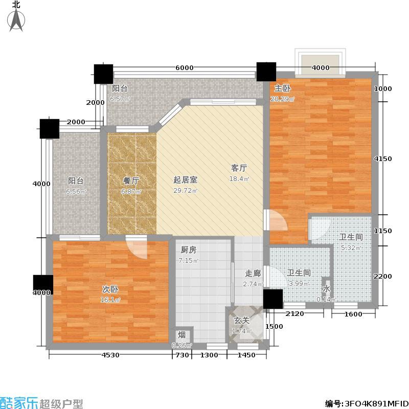 夏威夷海岸131.00㎡二房二厅户型