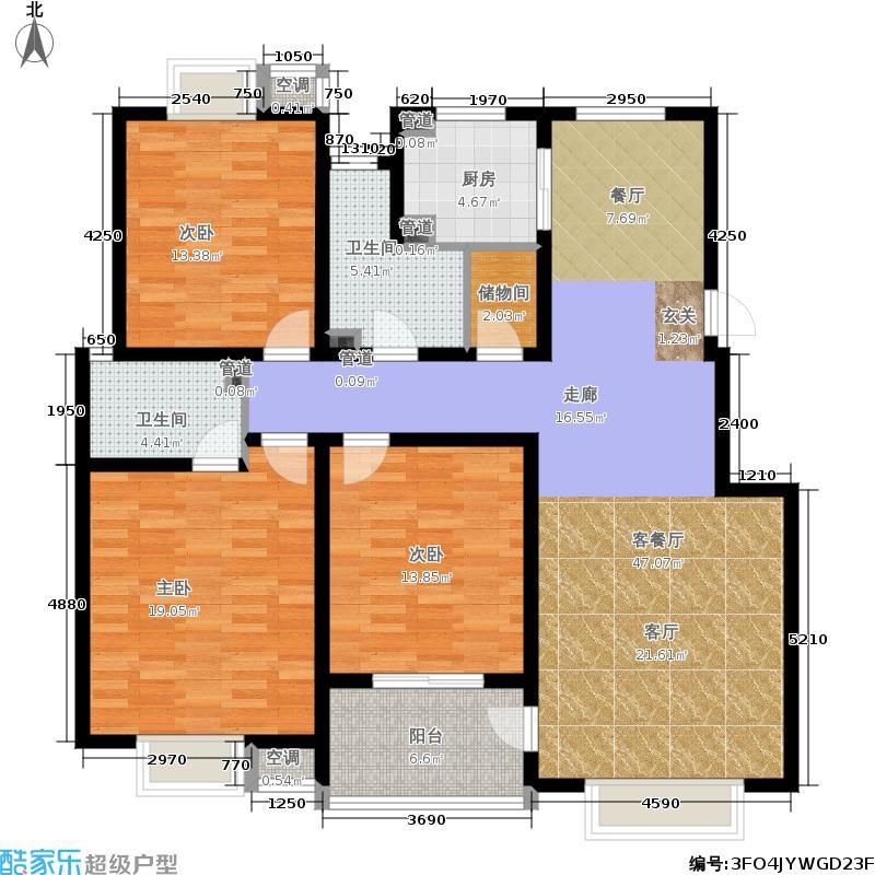 群星苑135.00㎡一区4#标准层A2户面积13500m户型