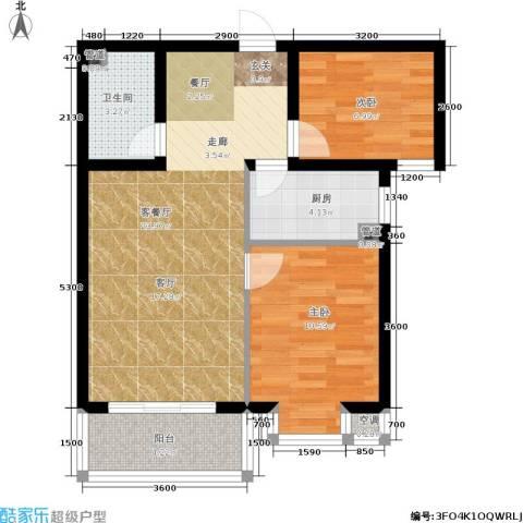 恒益翠芳庭2室1厅1卫1厨75.00㎡户型图