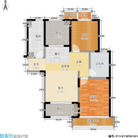 雍合湾2室0厅1卫1厨90.00㎡户型图