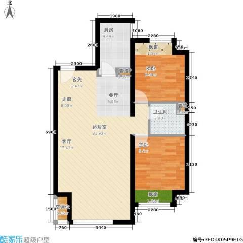 中铁・花溪渡2室0厅1卫1厨86.00㎡户型图