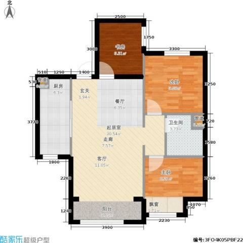 中铁・花溪渡3室0厅1卫1厨93.00㎡户型图