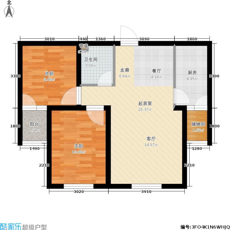 金水湾75.53㎡2#楼叁面积7553m户型