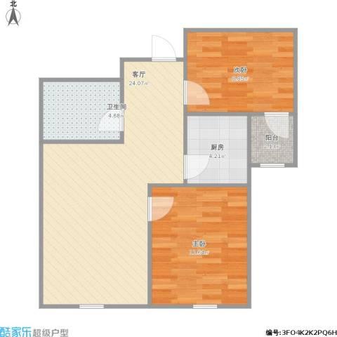 景山街2室1厅1卫1厨75.00㎡户型图