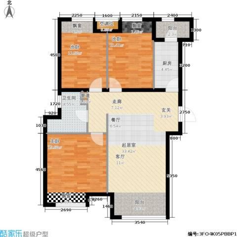 中铁・花溪渡3室0厅1卫1厨113.00㎡户型图