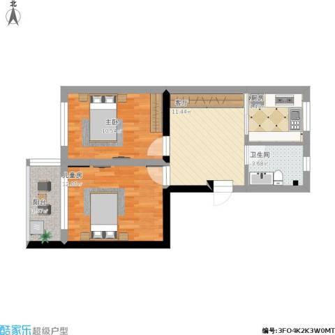 双东坊社区2室1厅1卫1厨77.00㎡户型图