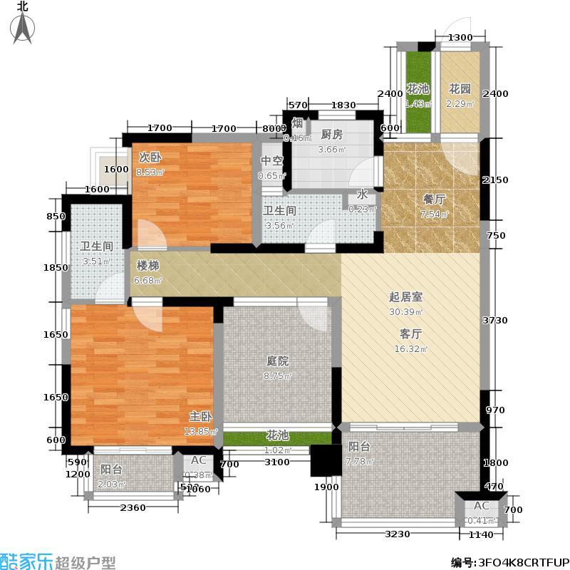 金城・万花坊102.47㎡B-1户型 2室2厅1厨2卫户型2室2厅2卫