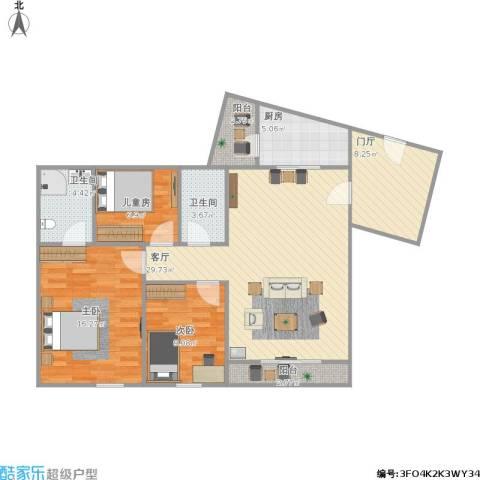 solo国际公寓3室1厅2卫1厨120.00㎡户型图