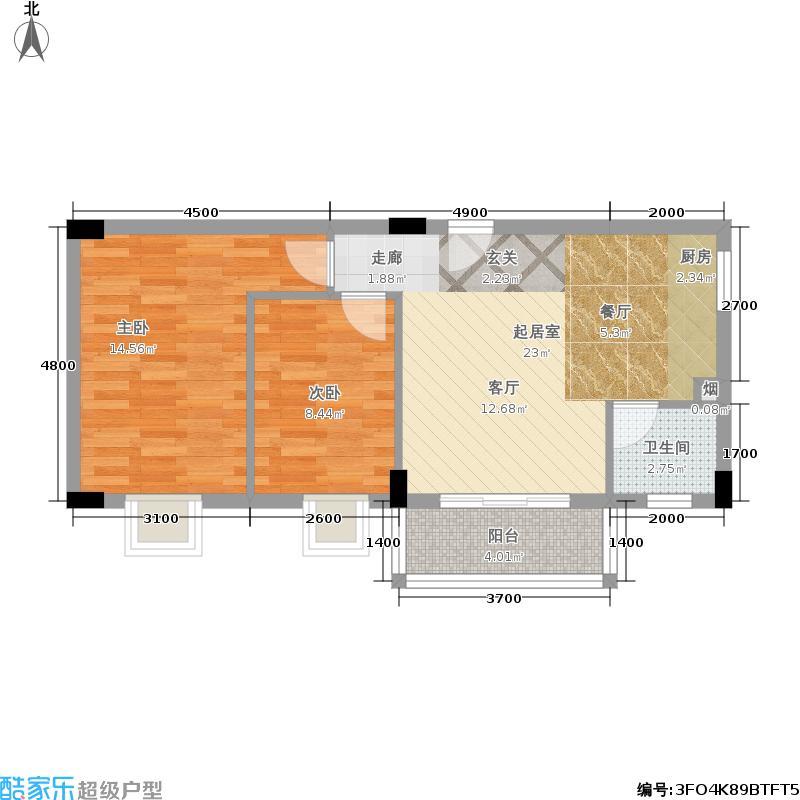 水云轩M户型 2室2厅2卫1厨户型