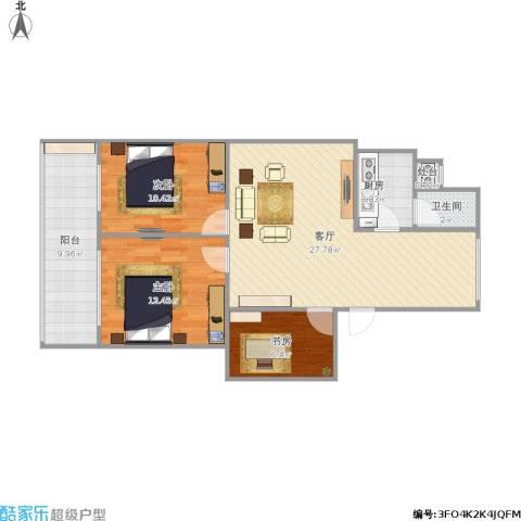 双银花园3室1厅1卫1厨111.00㎡户型图
