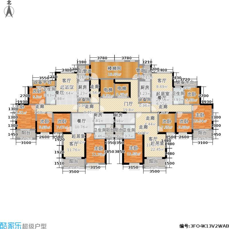 恒大御景7栋2单元2-25层平面图户型