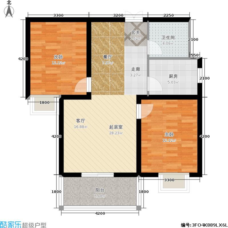 博亚・龙湾84.79㎡公寓户型 2室2厅1卫户型2室2厅1卫